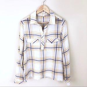Cloth & Stone Plaid Button Down Frayed Hem Shirt S